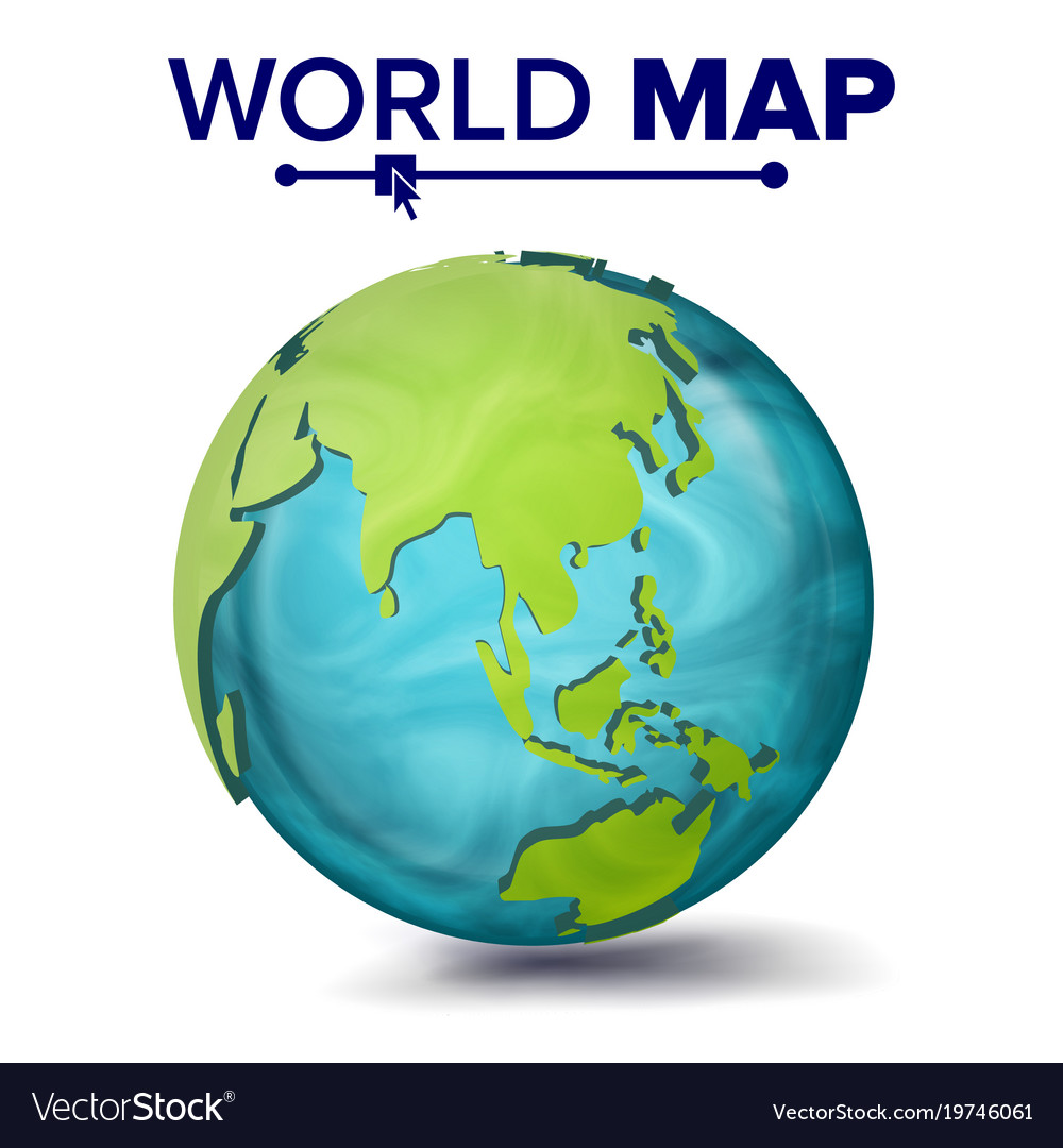 World Map 3d Planet Sphere Earth With Royalty Free Vector