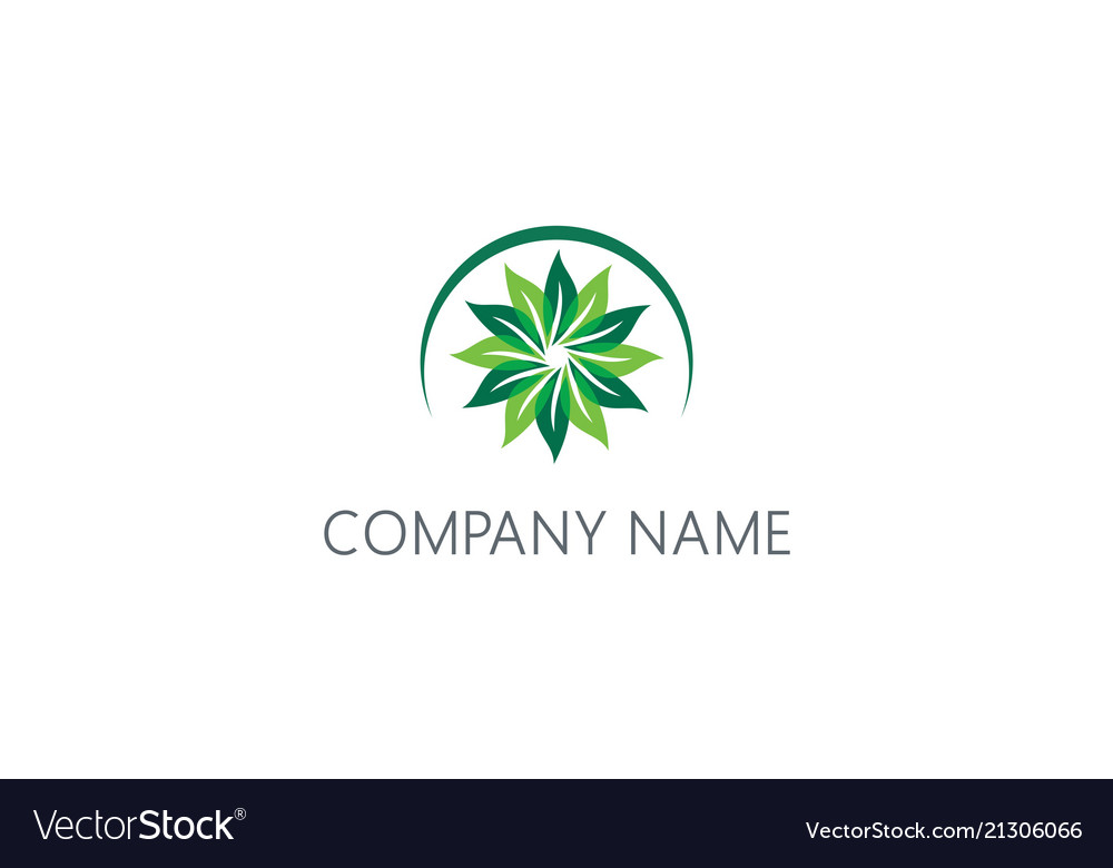 Circle green leaf flower beauty logo
