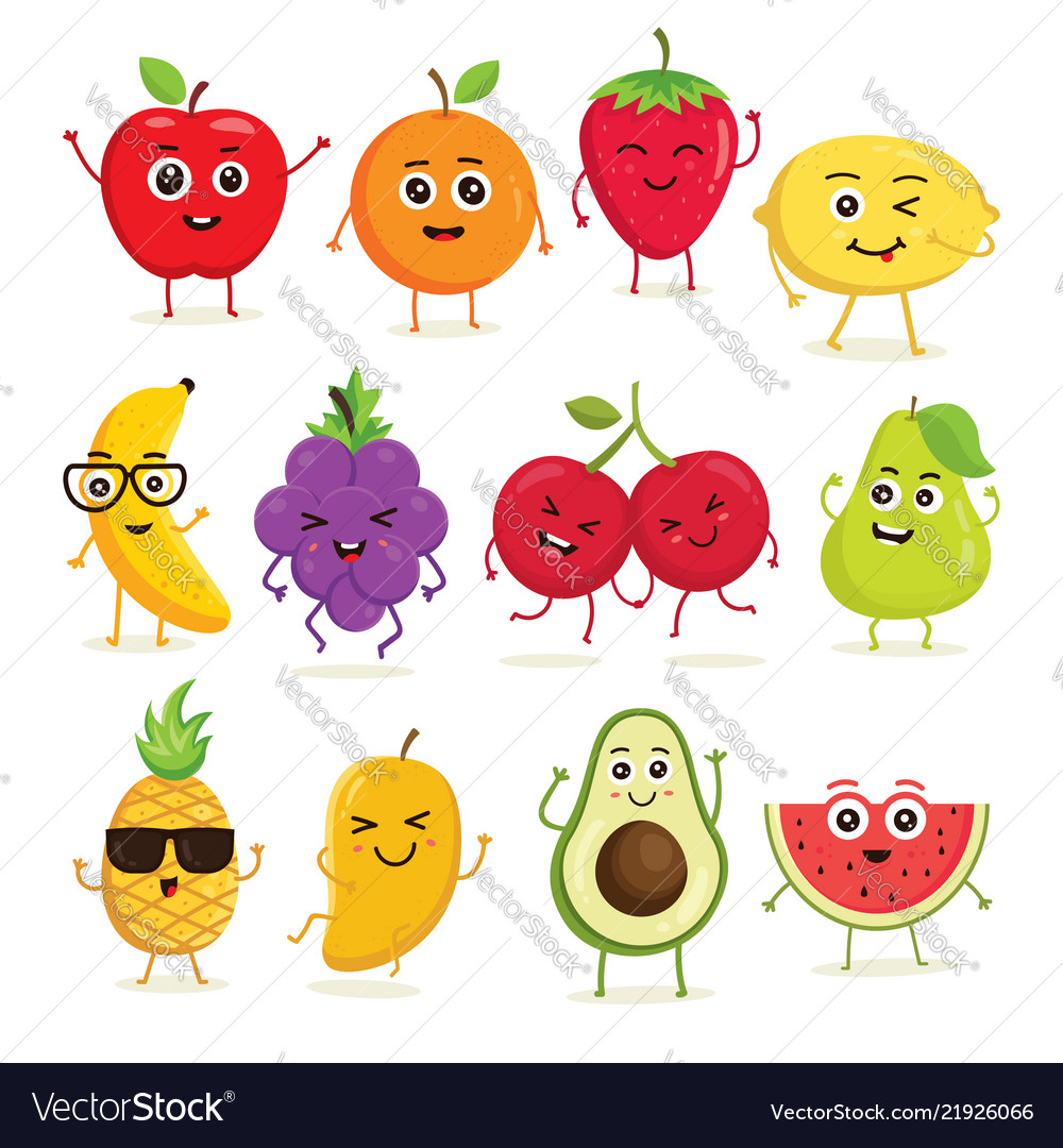 Collection cute fruits