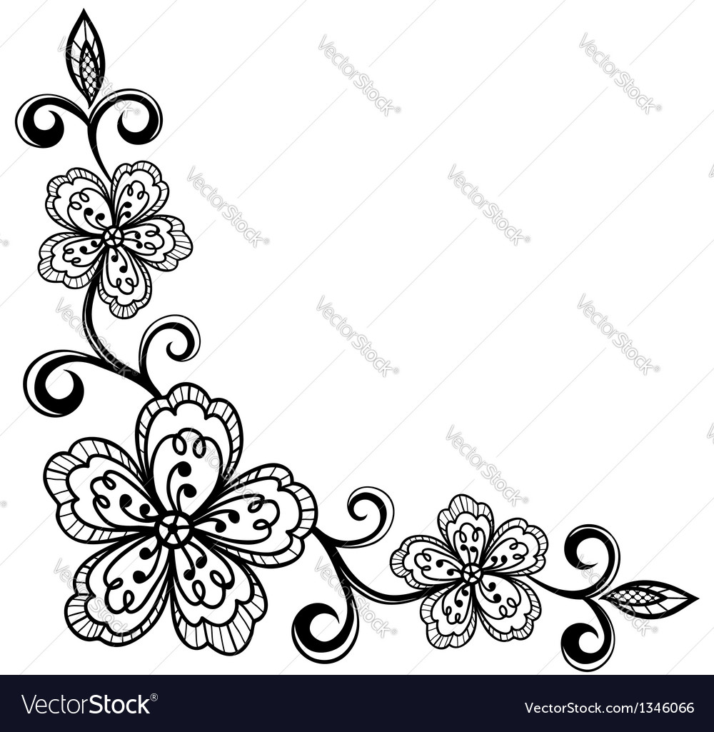 Corner ornamental lace flowers black and white