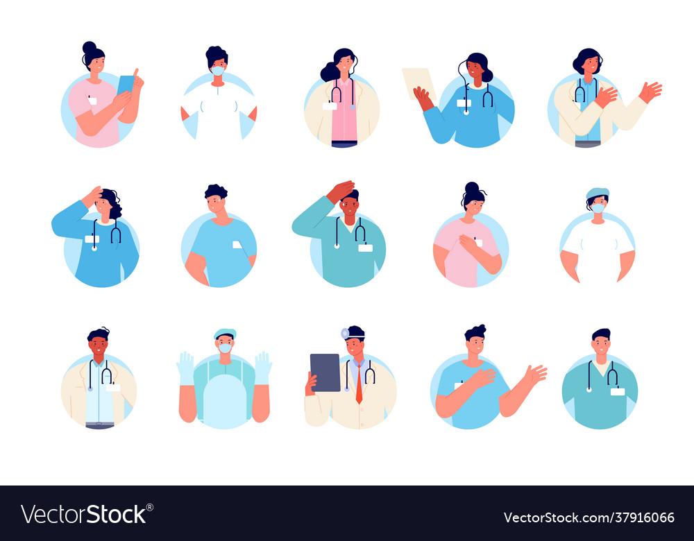 Doctor avatars health nurse portrait doctors