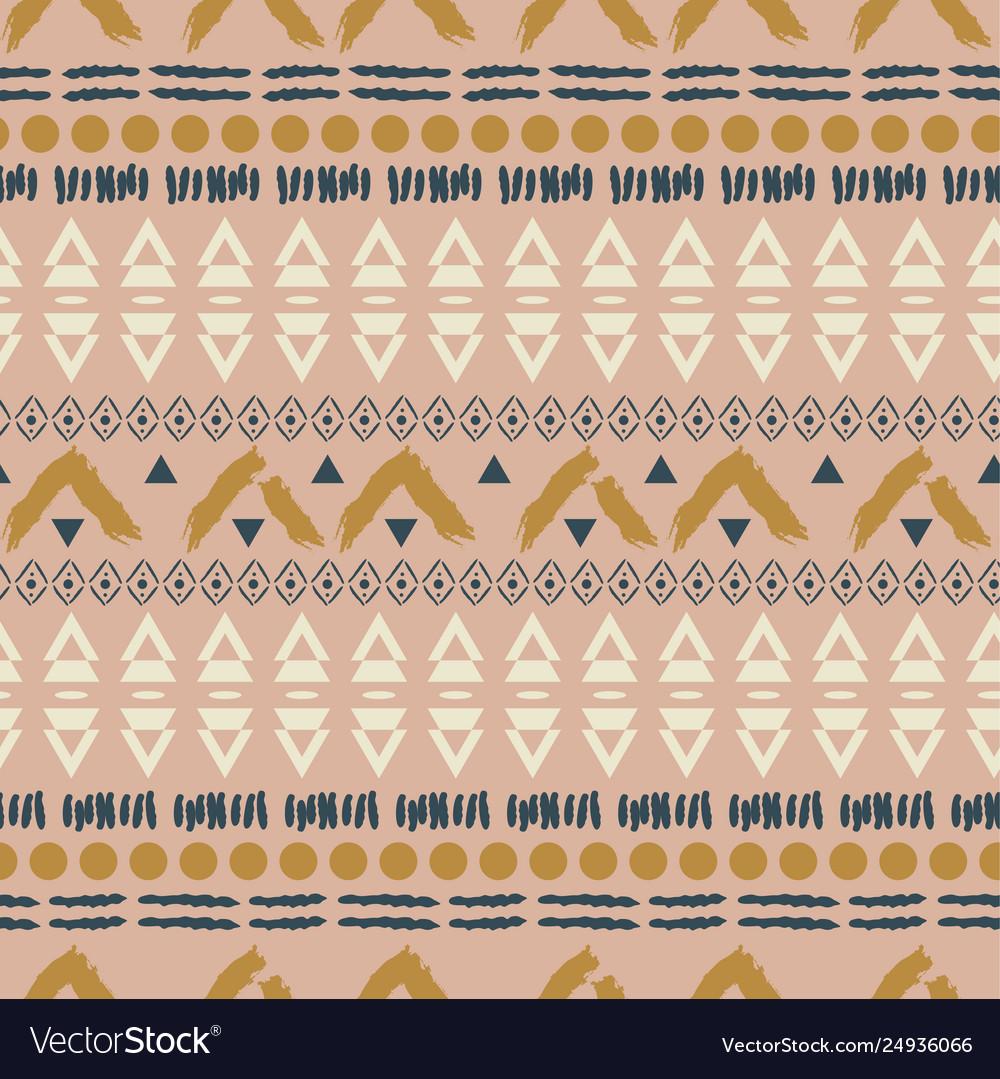 Ethnic boho blush pink geometric seamless pattern