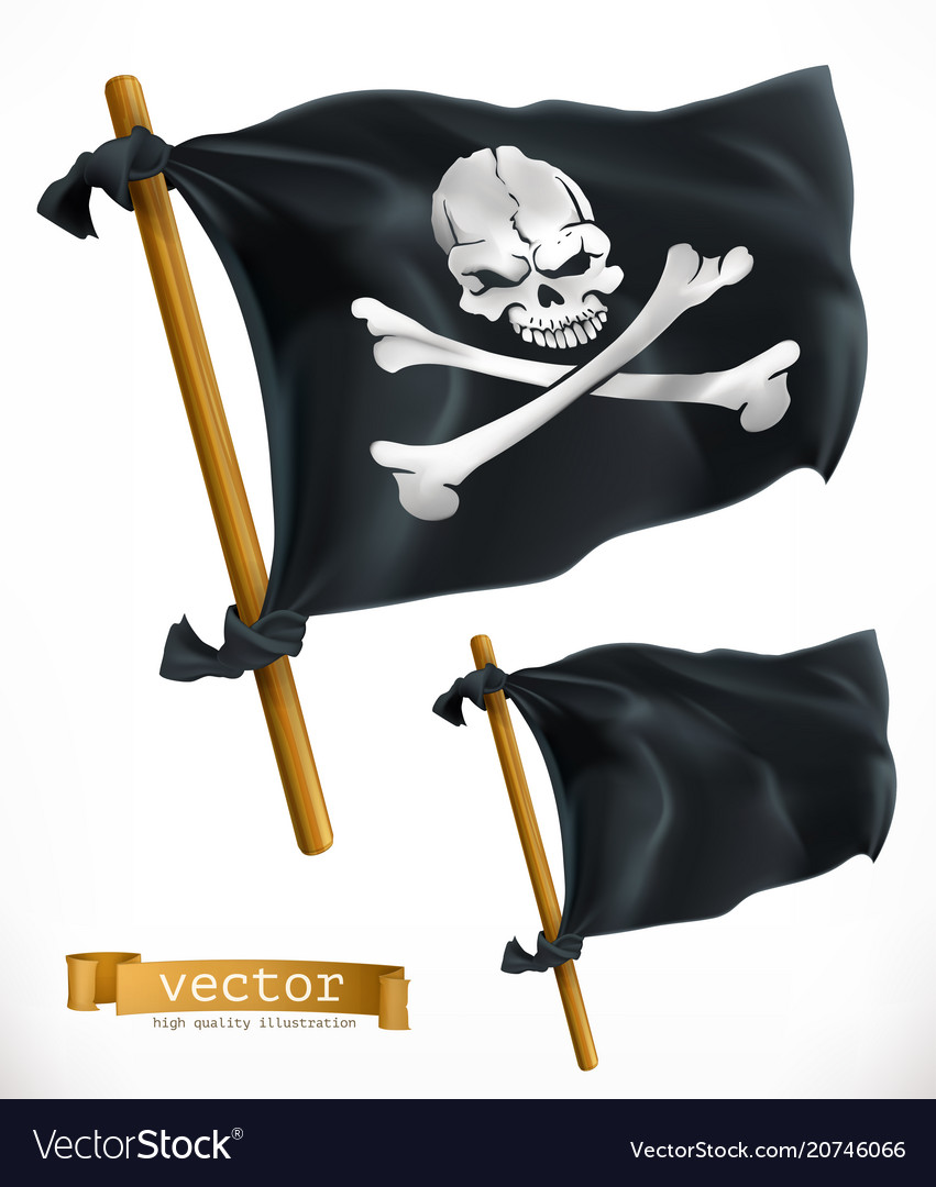 Pirate black flag jolly roger 3d icon