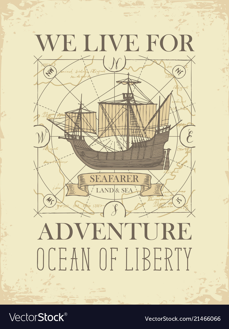 Retro travel banner with sailing ship and old map