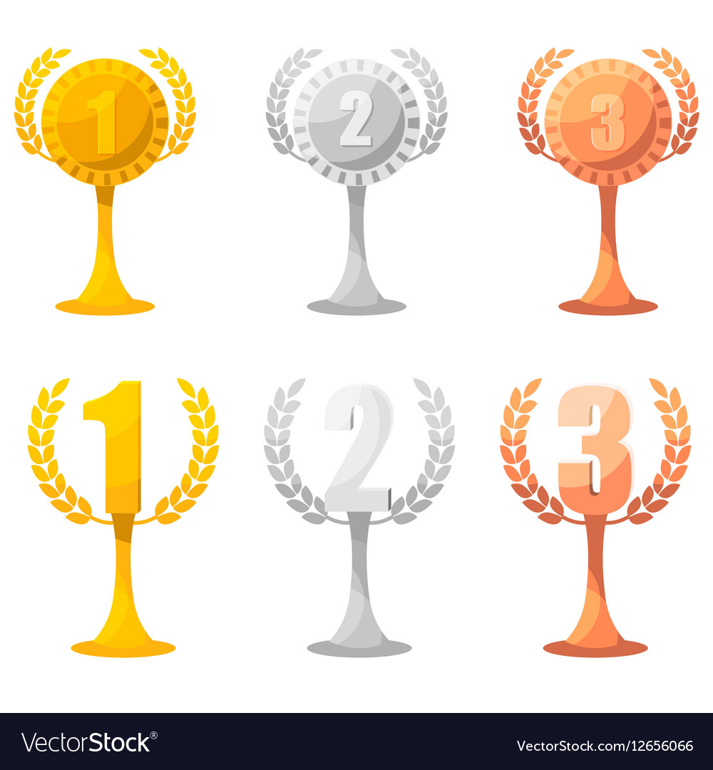 Set of champion rewards in gold silver and bronze vector image