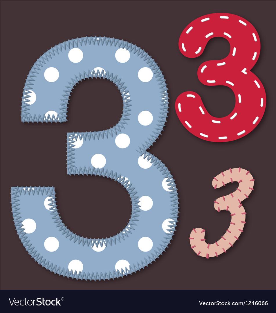 Set of stitched font - 3 Three