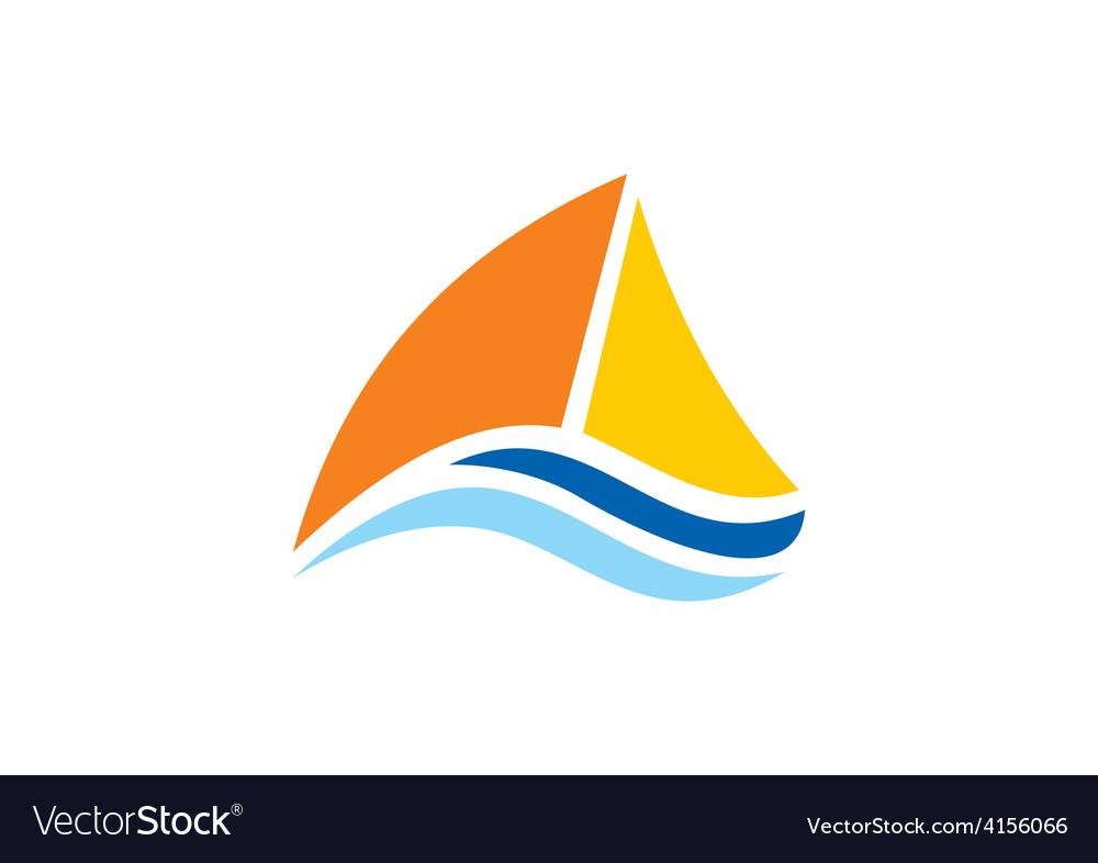 Yacht sailing boat ocean logo