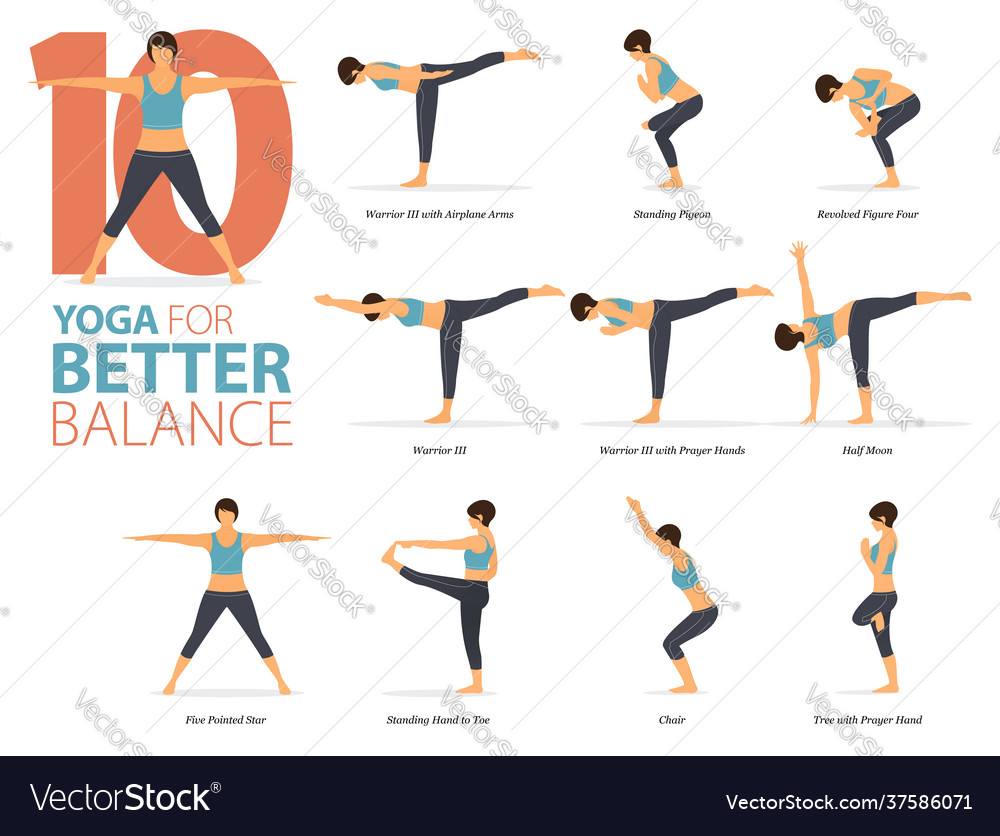 50 yoga poses for better balance concept Vector Image