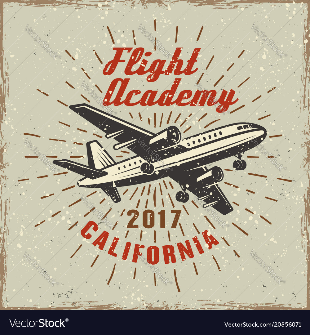 Airplane label for flying academy