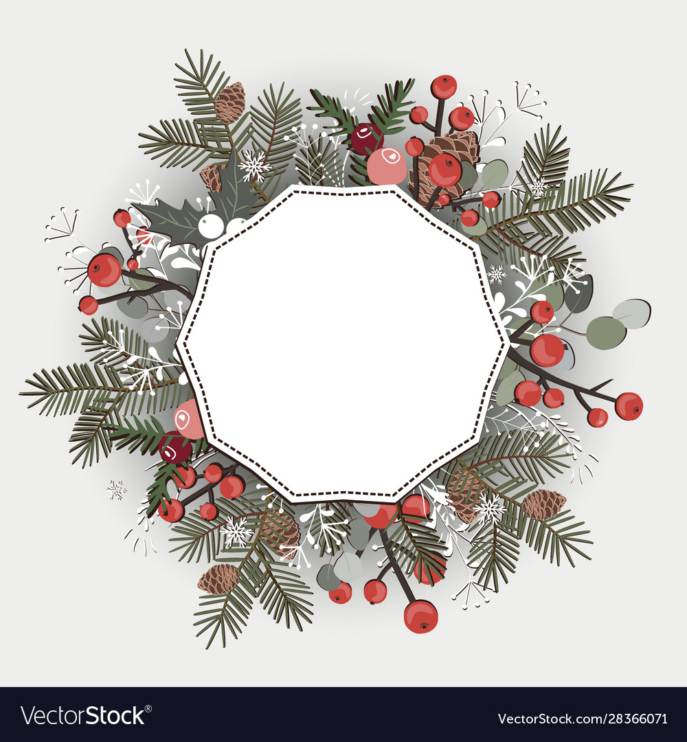 Beautiful christmas decorative wreath greeting