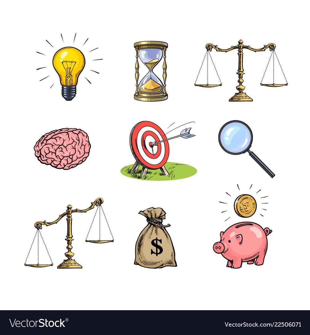 Business concepts set light bulb hourglass