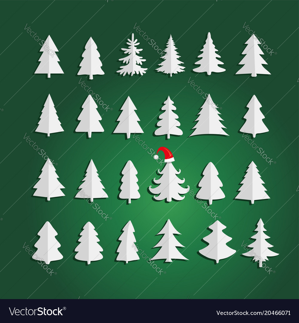 Christmas kit of trees on green background