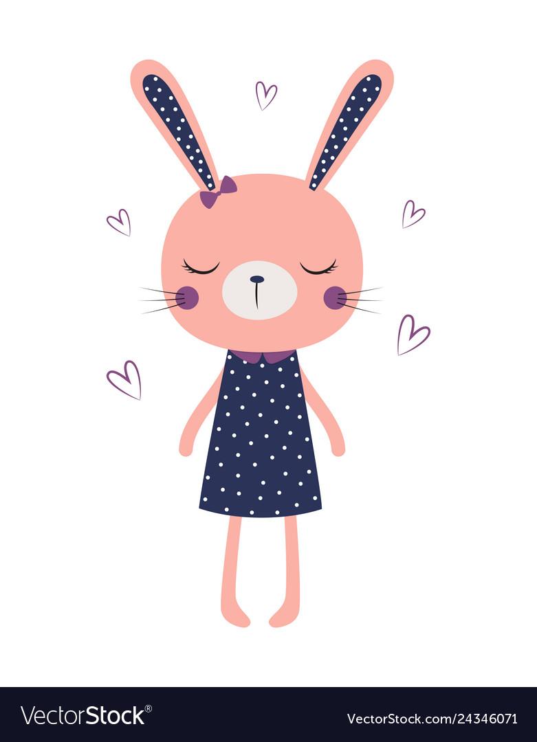 Cute bunny girl isolated