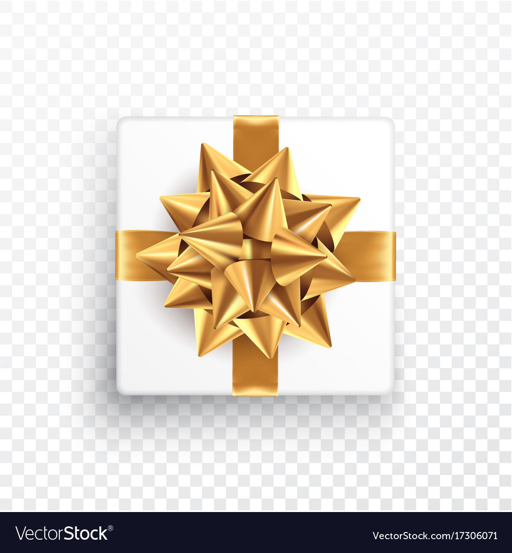 gold gift bow on a transparent background vector image