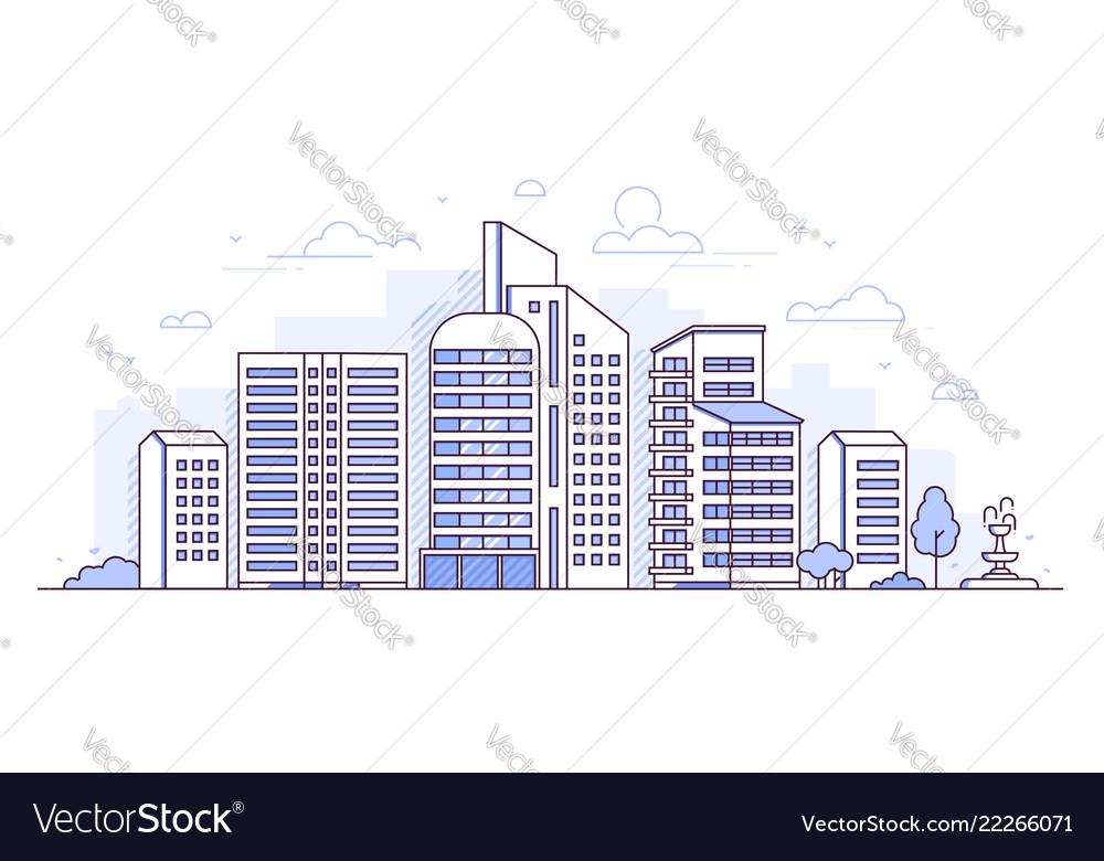 Modern city - thin line design style