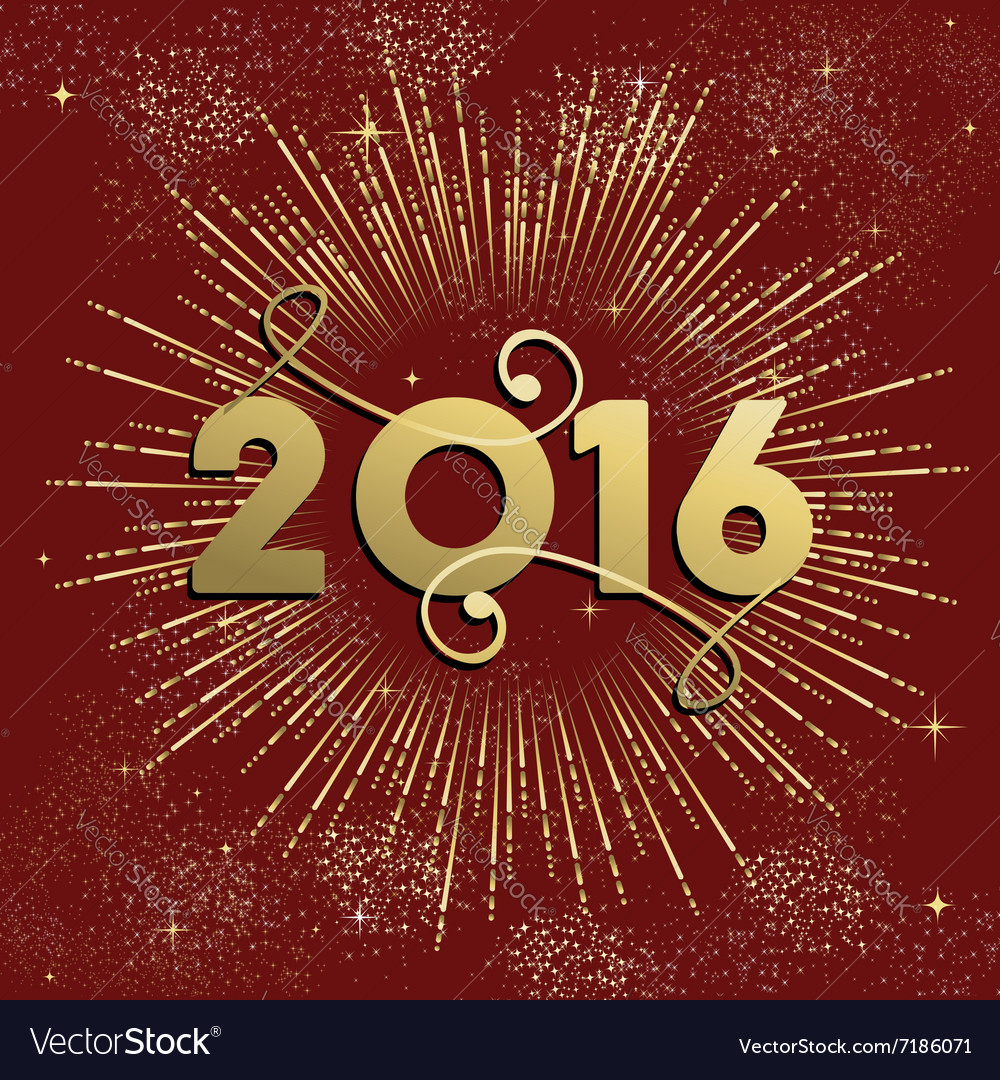new year 2016 firework explosion card gold vector image