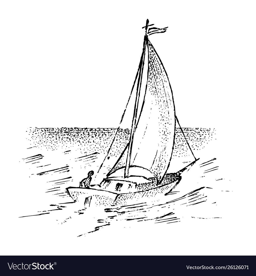 Sailboat in sea summer adventure active