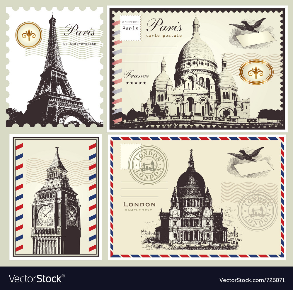 Set of paris and london symbols