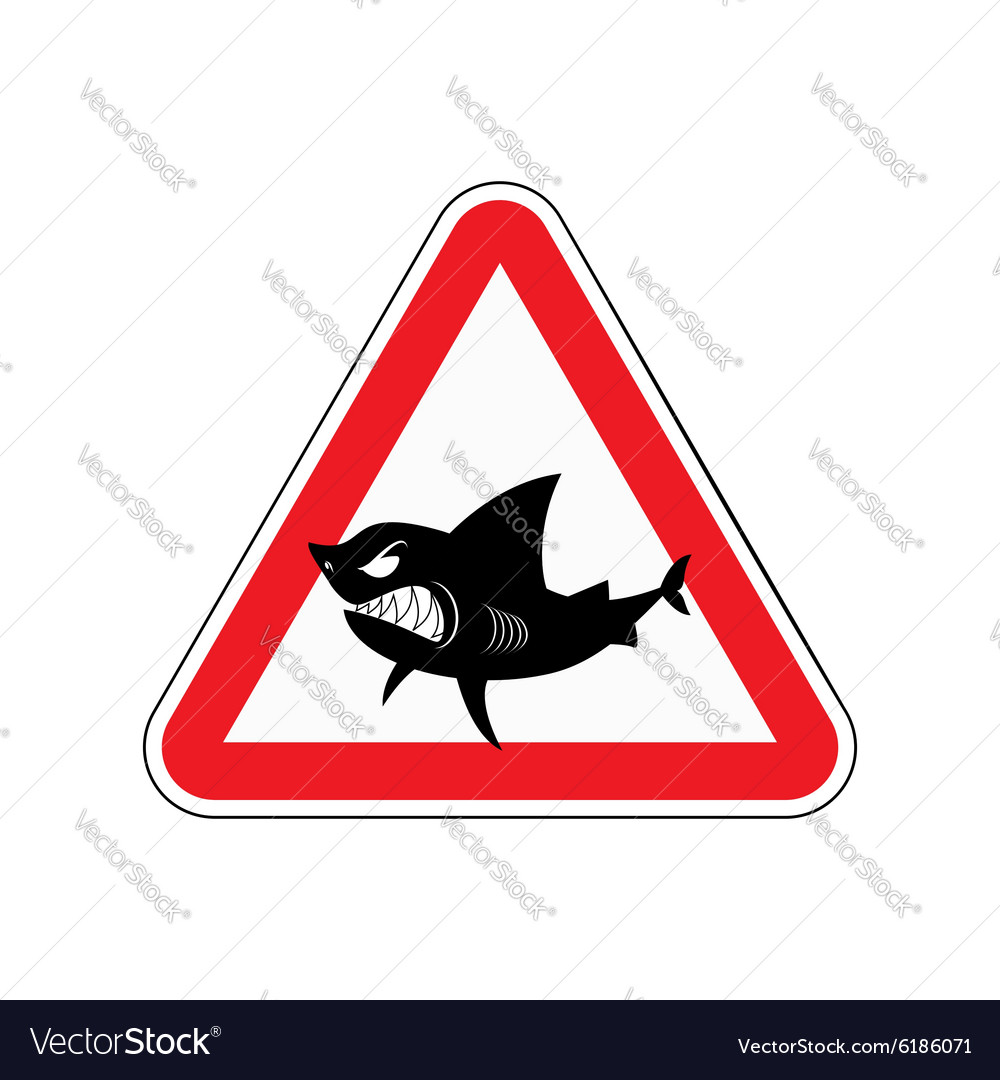 Sign of attention to shark Red triangle with