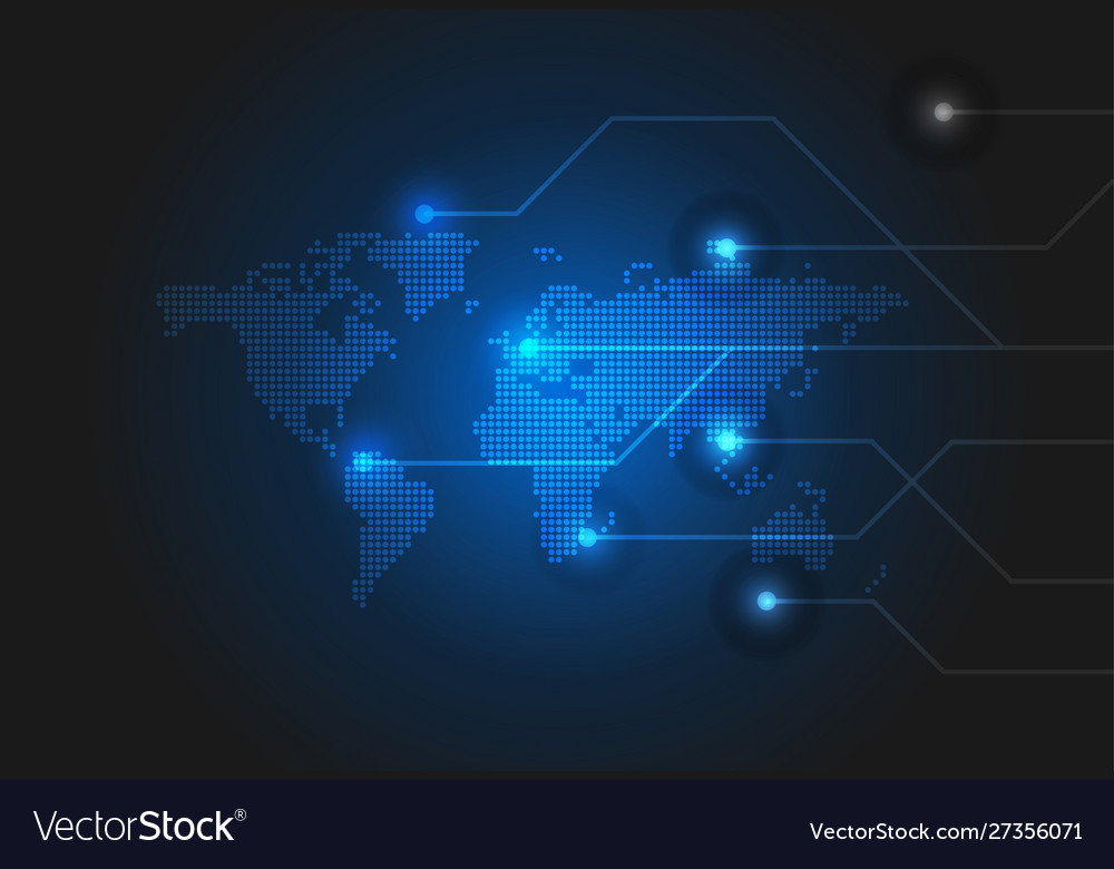 Technology background with dotted world map
