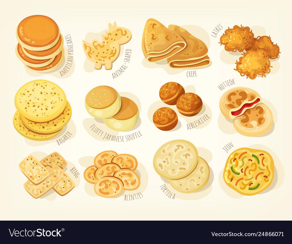 Various kinds pancakes
