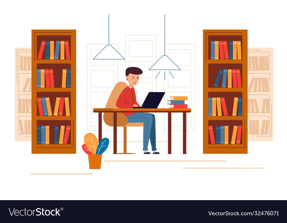 Young man sitting in library and reading