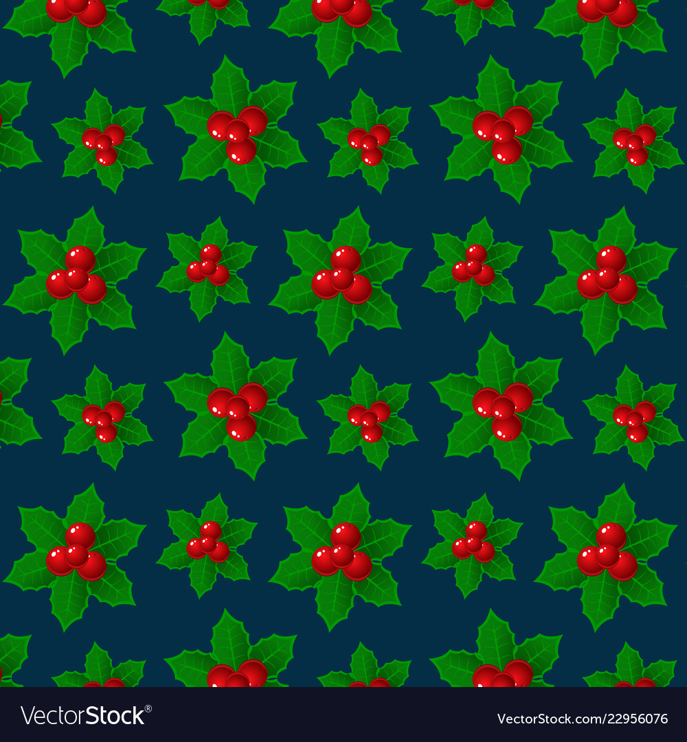 Christmas background holly ilex branch with berry