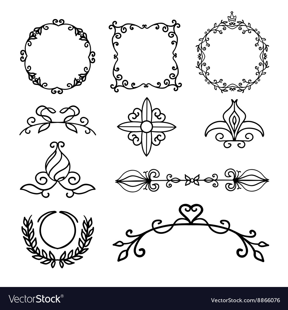 Hand drawn decoration elements frames page