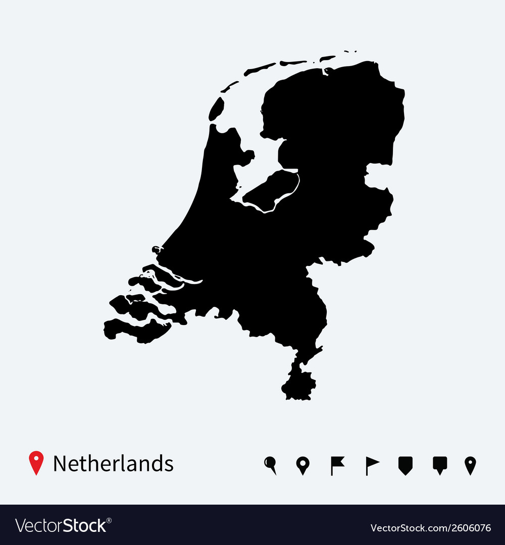 High detailed map of Netherlands with navigation vector image