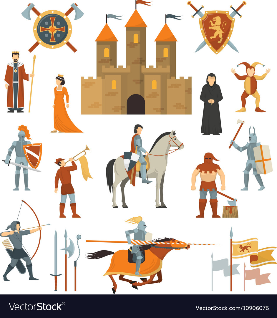 Medieval Decorative Icons Set vector image