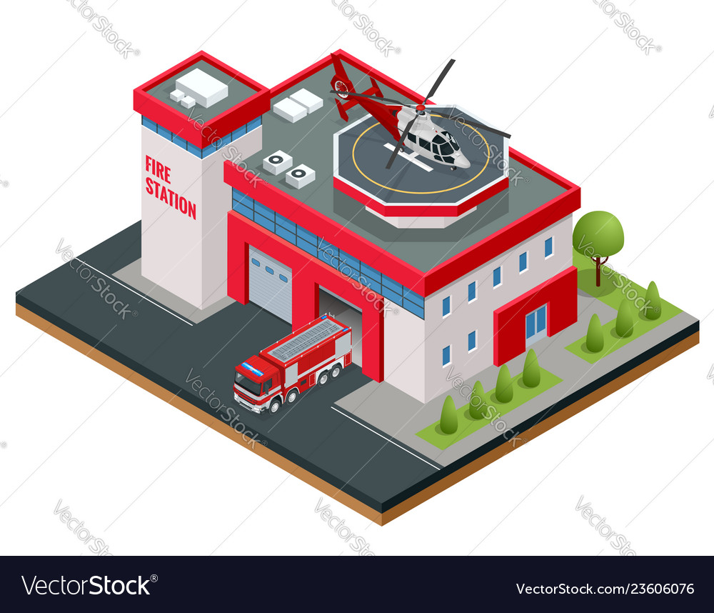 Modern isometric fire station building