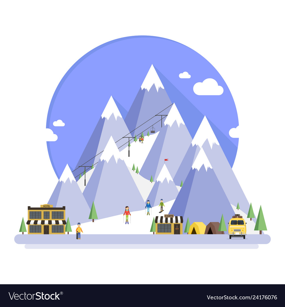 Ski resort in mountains winter time