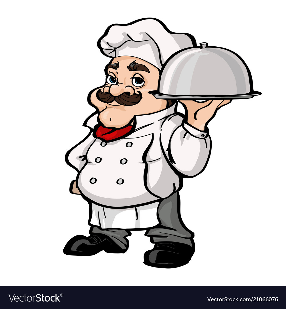 Smiling chef cartoon character holding silver