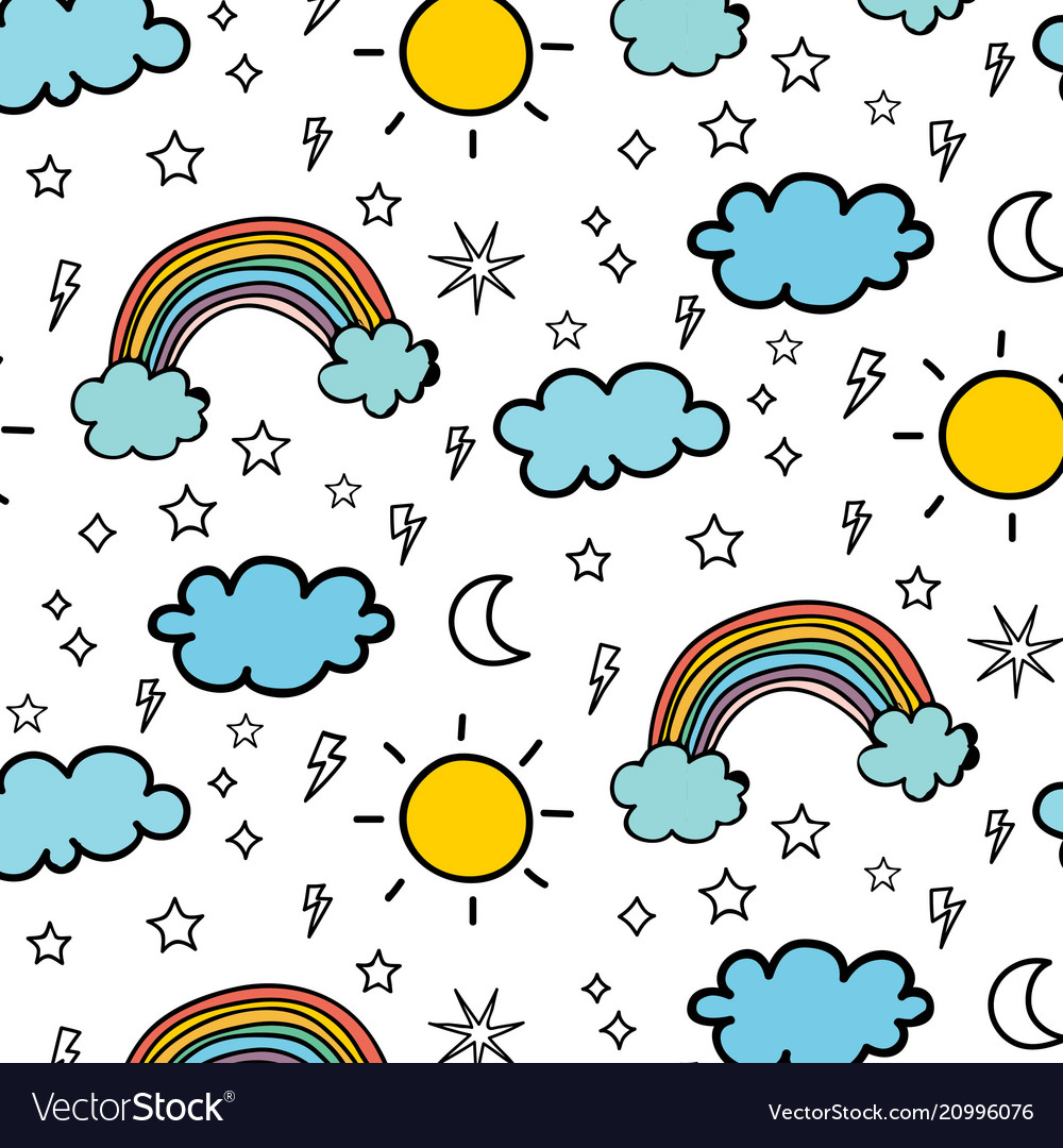 Weather doodle pattern background