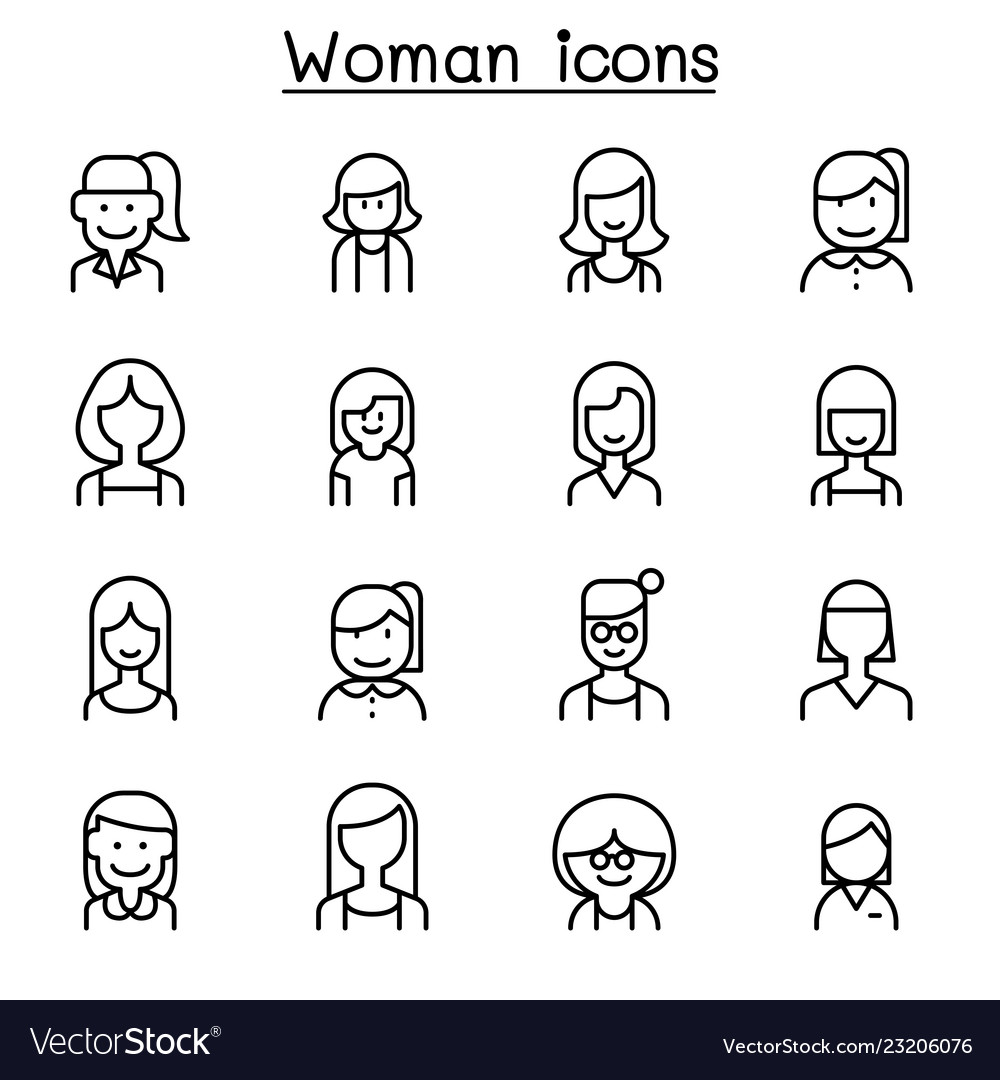 Woman girl lady female mom icon set in thin line