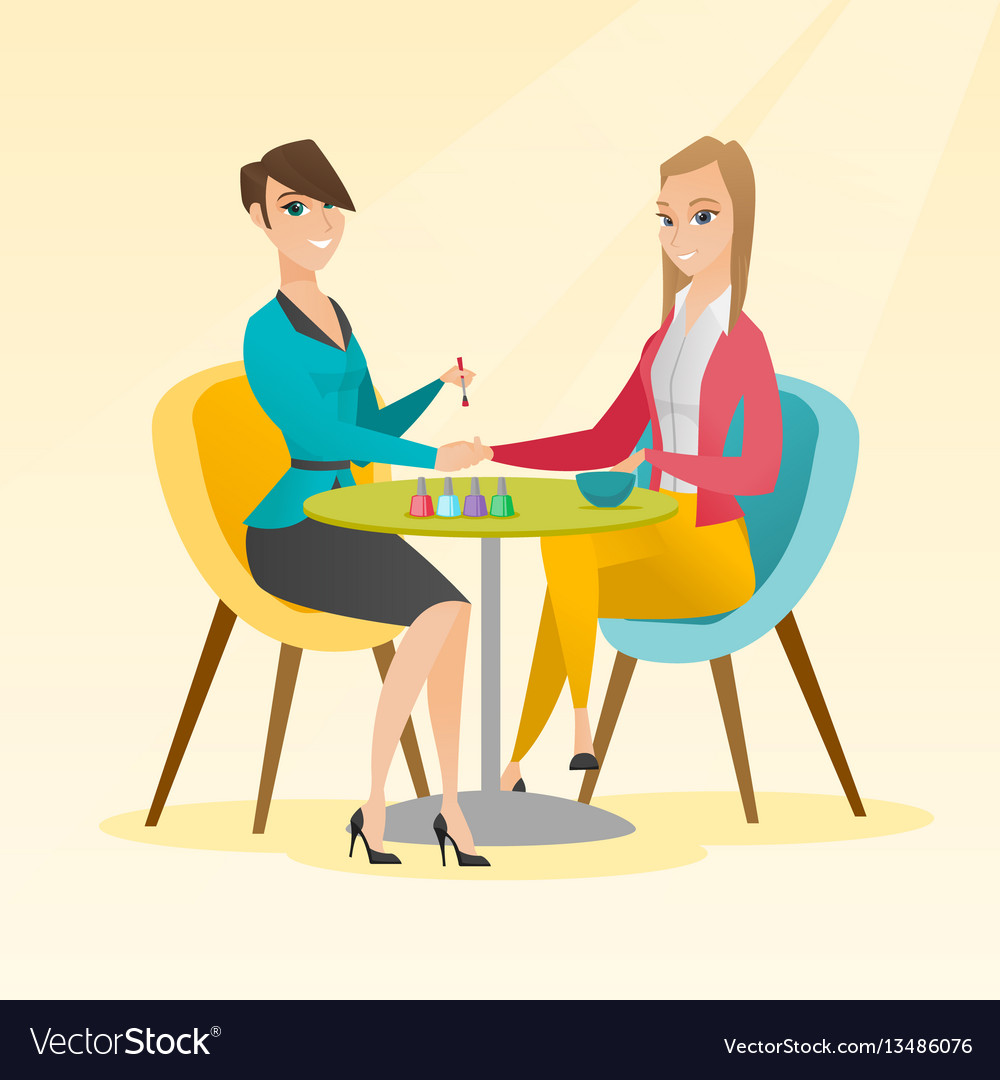 Woman Receiving Manicure In Nail Salon Royalty Free Vector
