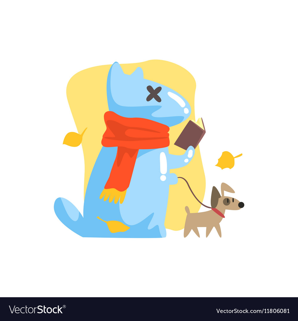Blue Jelly Zombie Dog Monster Walking A Small Pet vector image