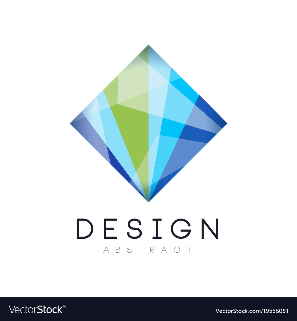creative crystal logo template diamond shaped vector image