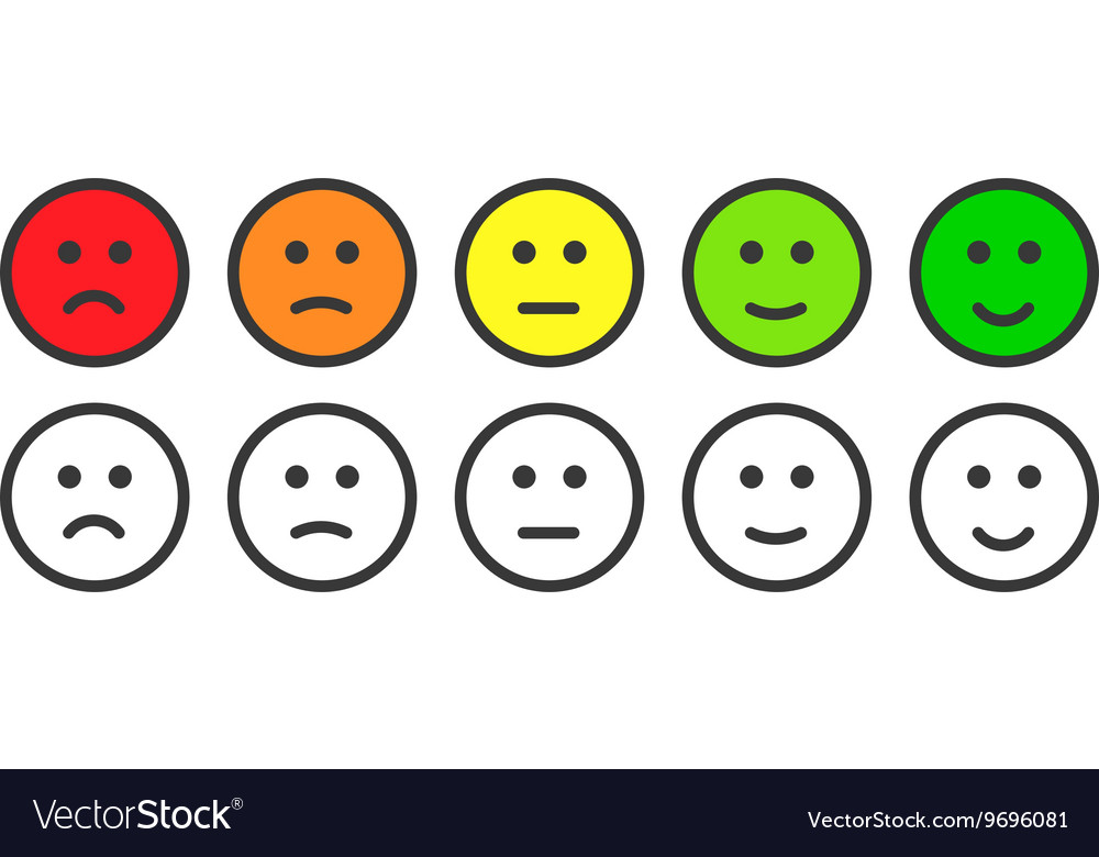 Emoji Icons For Rate Of Satisfaction Level Vector Emoticon Faces Happy Sad Stock