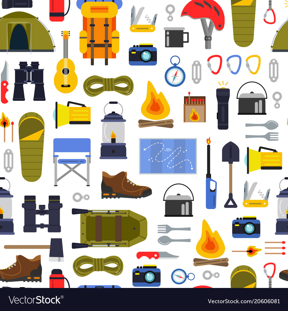 Flat style camping elements pattern or