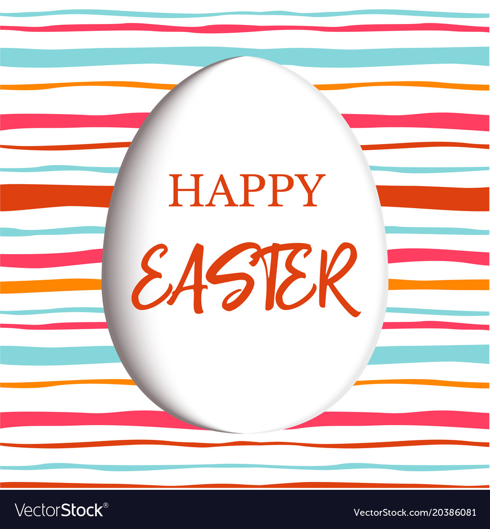 Happy easter decorated white flat egg with simple
