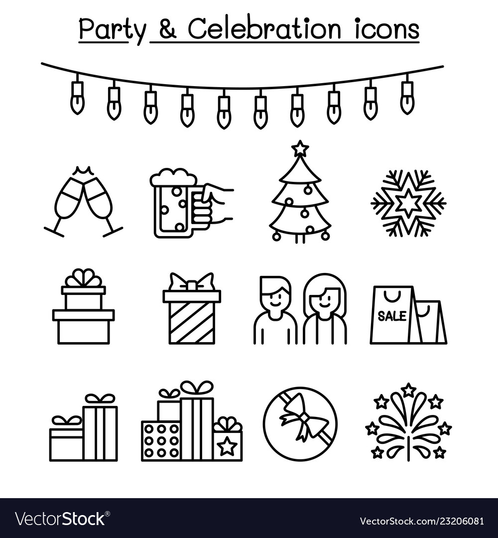 Party celebration icon set in thin line style