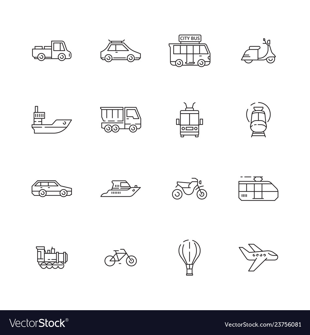 Public transport icons cars planes trains boats