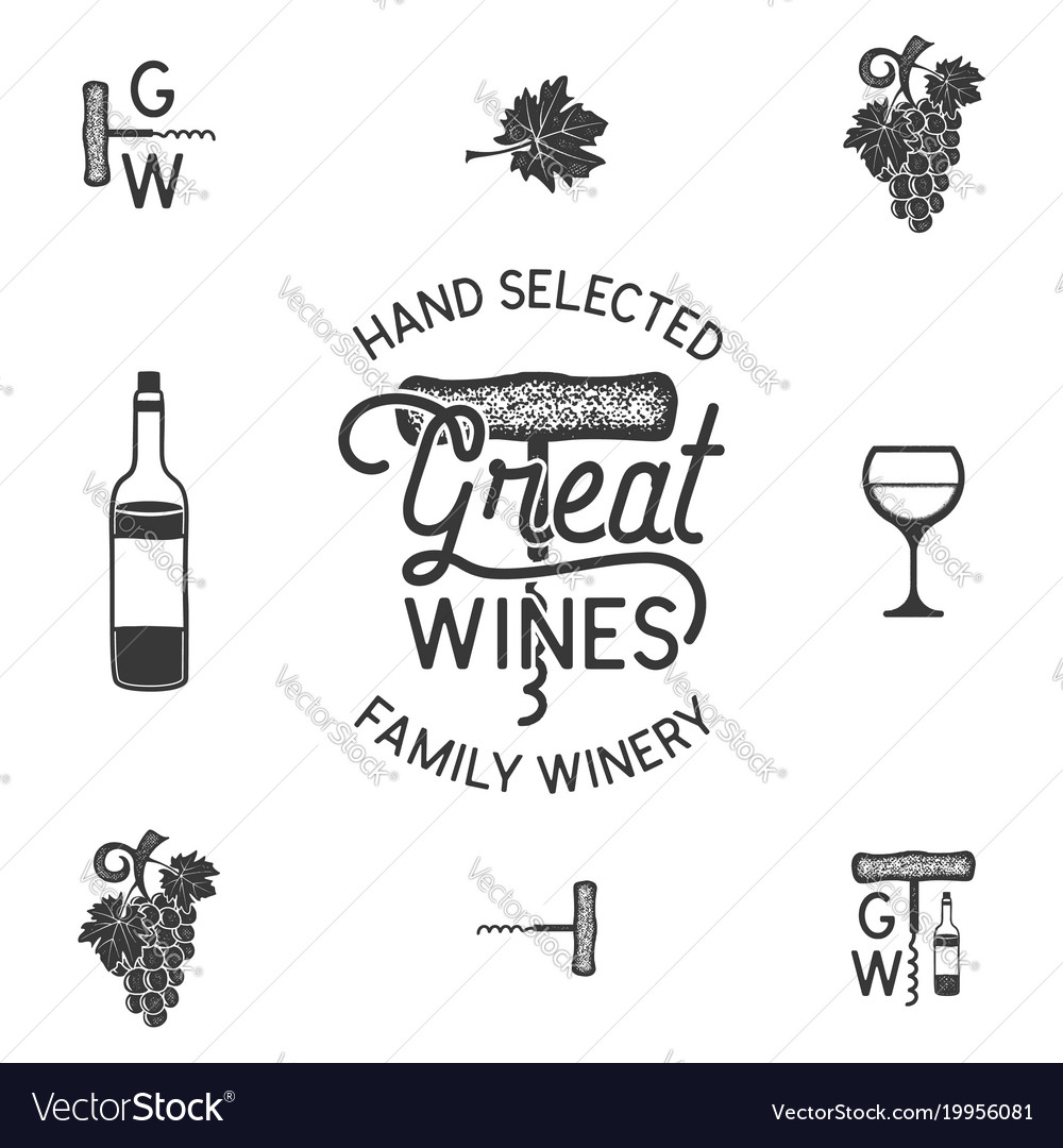 Wine winery logo and icons elements drink