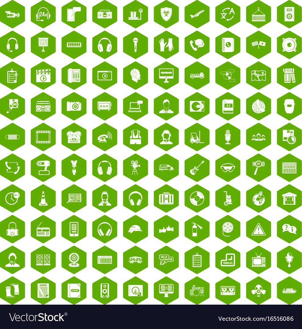 100 headphones icons hexagon green