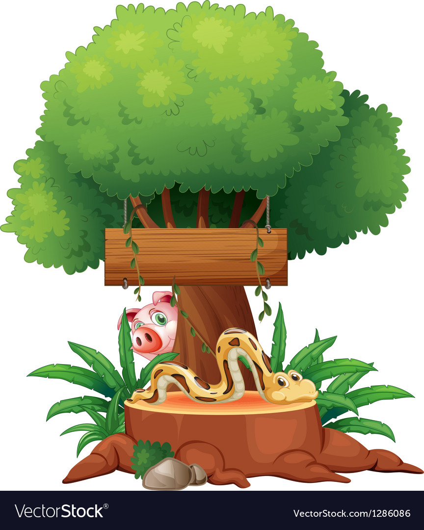 A snake with a wooden signboard and a pig at the vector image