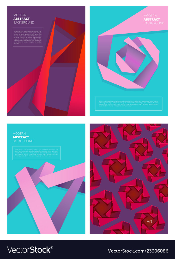 Abstract magazine covers modern colored shapes