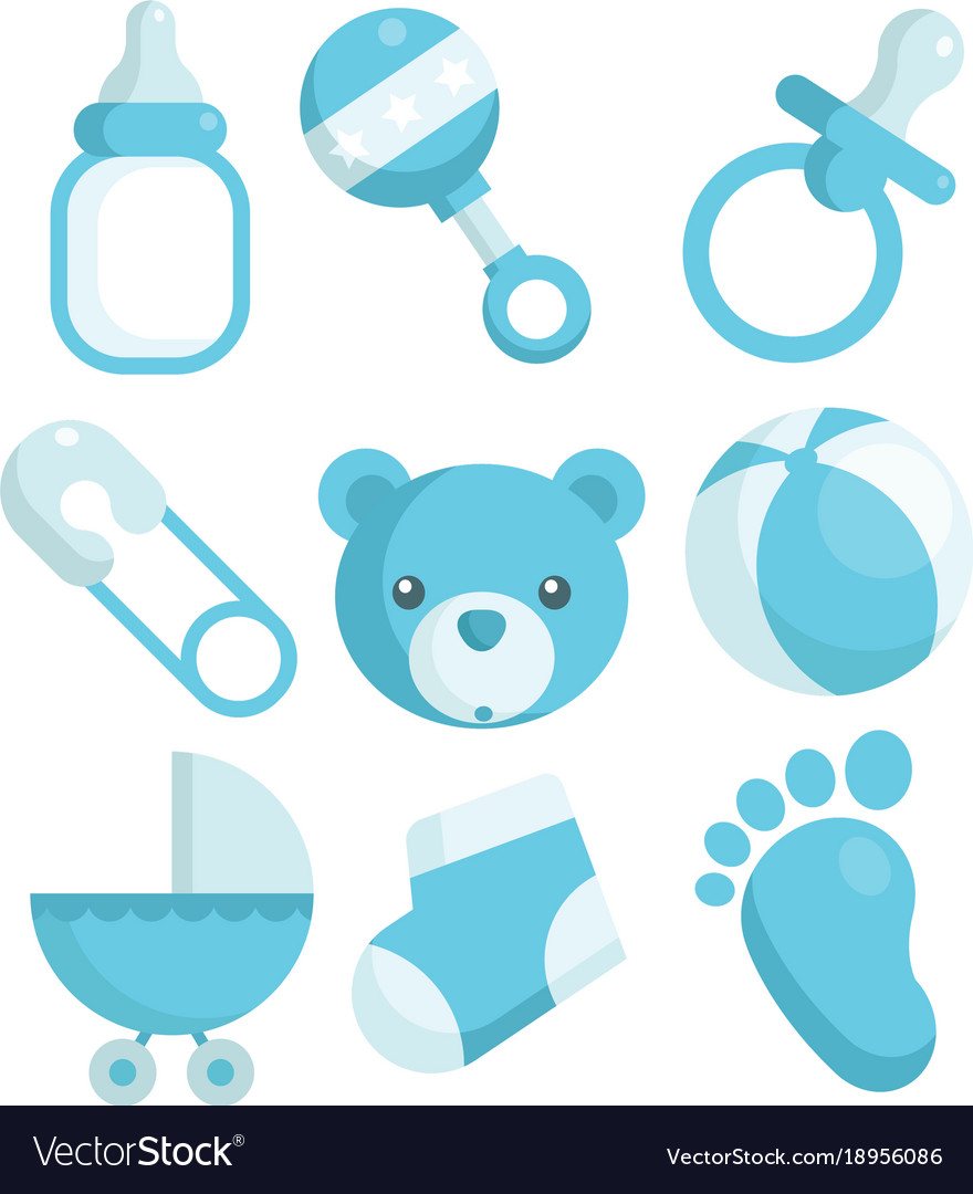 Blue Baby Shower Icons Royalty Free Vector Image