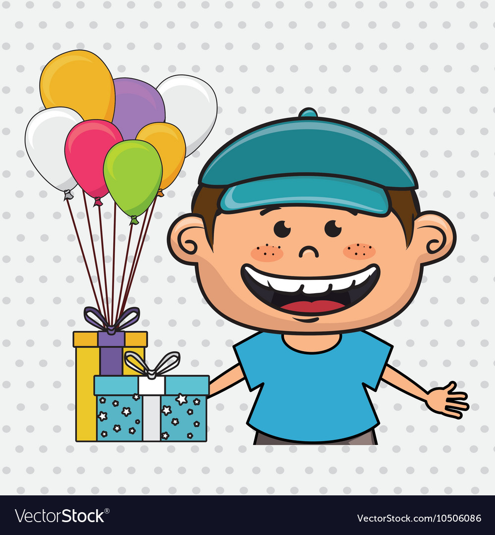 boy balloons gifts royalty free vector image vectorstock
