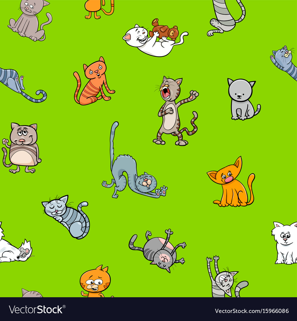 Cartoon Wallpaper Design With Cats Royalty Free Vector Image